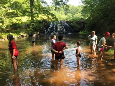 Students swimming in the creek!